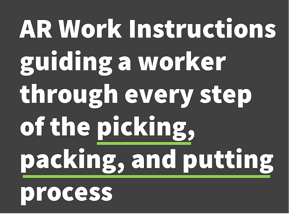 AR work instructions guiding a worker through every step of the picking, packing, and putting process